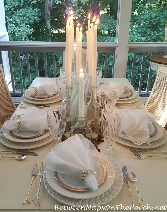 Candlelight Tablescape on the Porch
