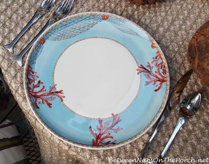 Effetti d'Arte Coral and Blue Plates, Design by Tiffani