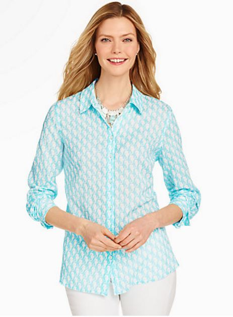 Light cotton aqua shirt with seahorse print