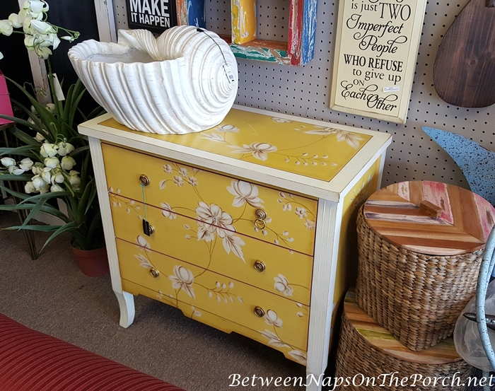 Painted Yellow Floral Chest