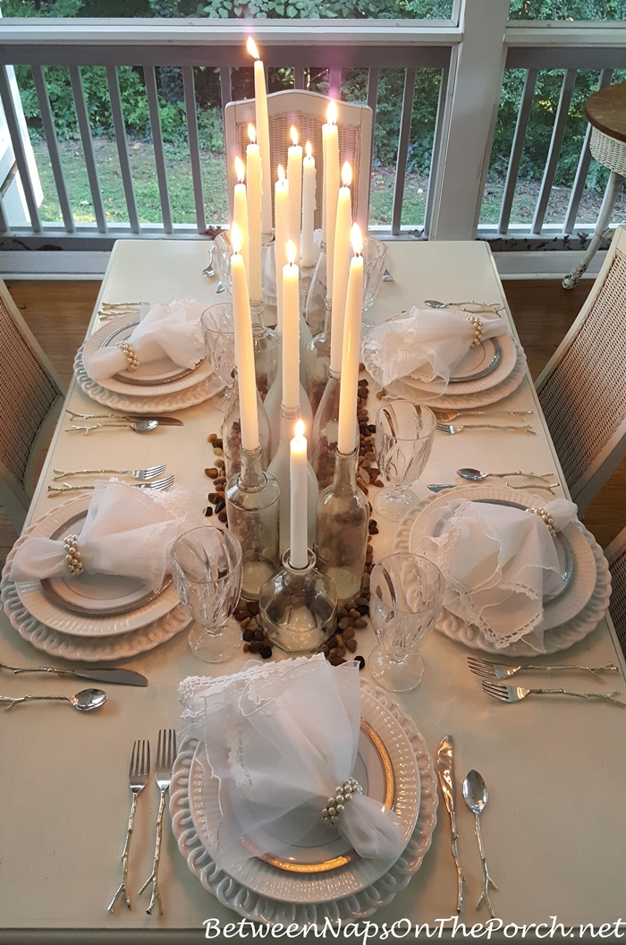 Romantic Candlelight Tablescape in Silver and White