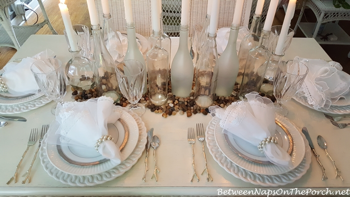 Romantic Table Setting in Silver and White