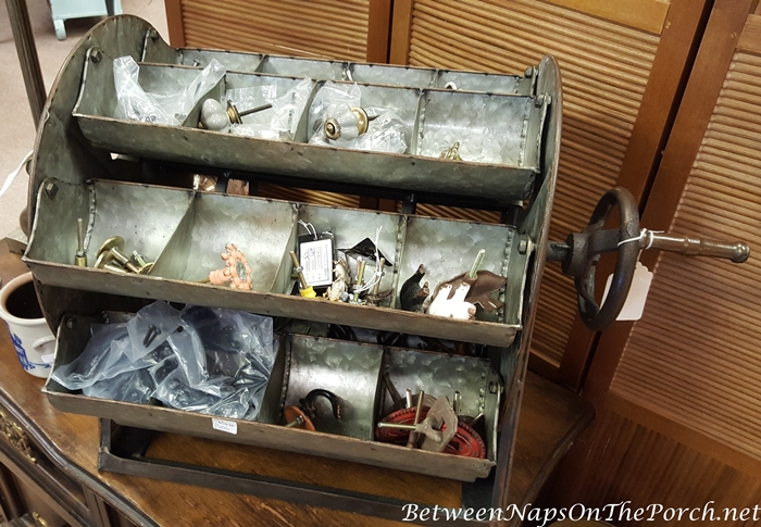 Spinning Antique Metal Organizer Bins