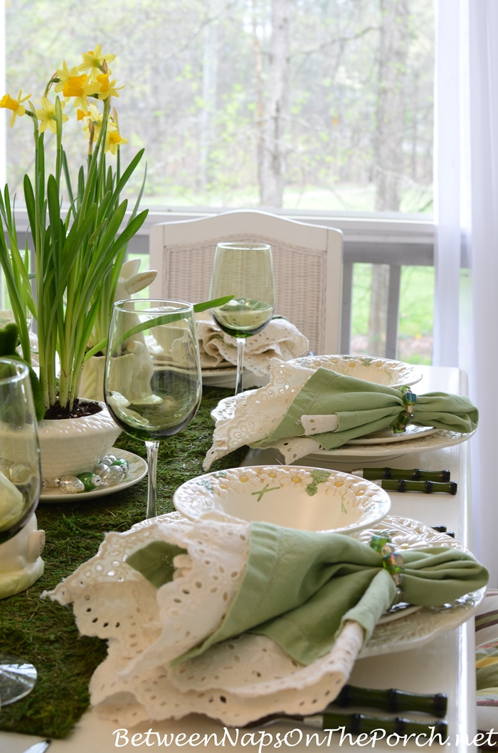 Spring Table in Green with Bunnies