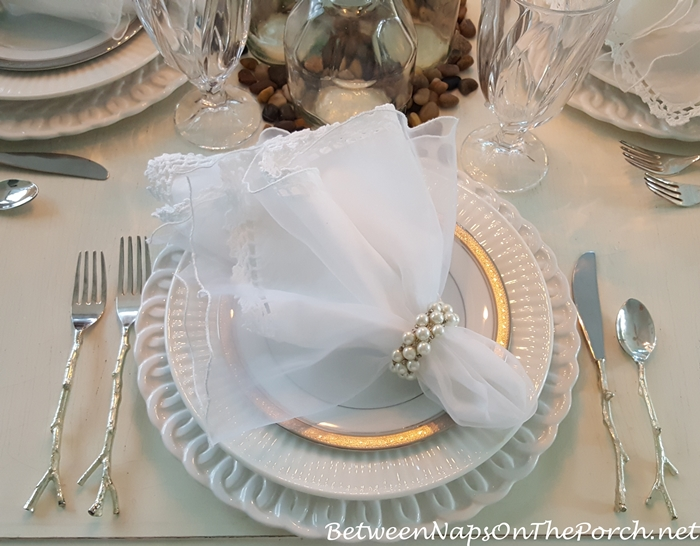 Table with Noritake Crestwood Platinum & Silver Twig Flatware