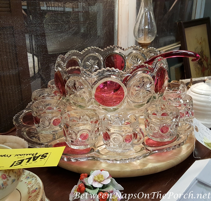 Tiffan Franciscan Ruby Flash Punch Bowl Set