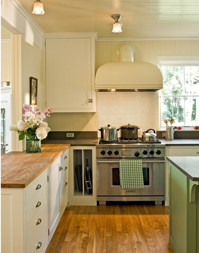 White Cabinets, Butcher Block Countertop, Wolf Range, White Subway Tile