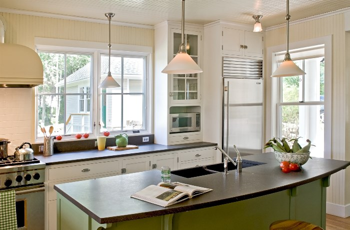 White Kitchen, Painted Green Island, Pendant Lights, Black Countertops