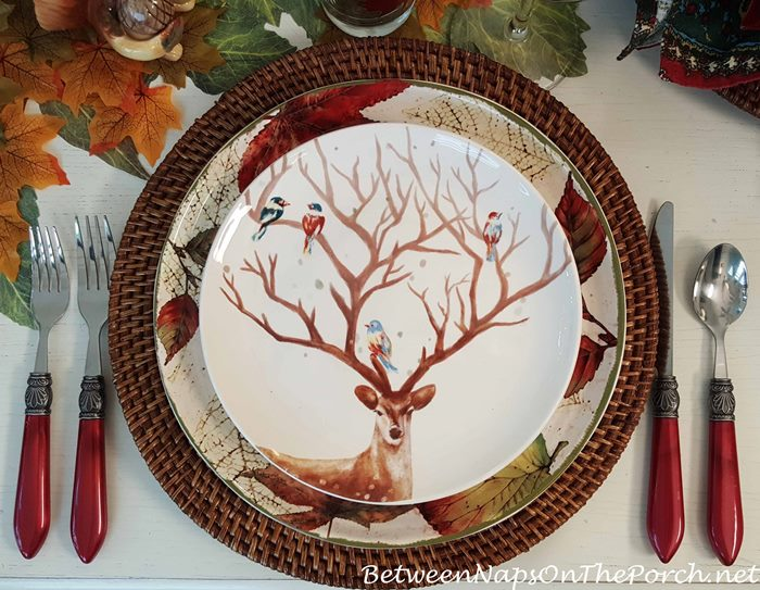 Autumn Table, Salad Plates with Deer and Birds