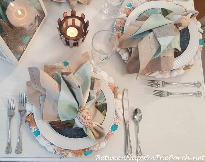 Beach-Nautical Themed Table Setting with Shell & Sea Glass Chargers