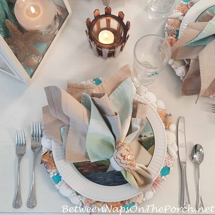Beach Themed Table with Sailboat Flatware & Shell Napkin Rings