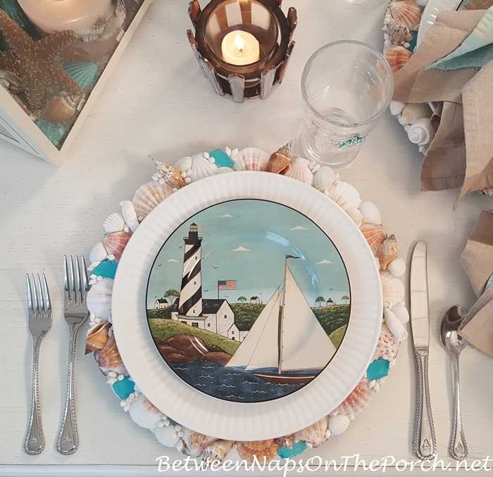 Coastal Breeze Salad Plates in Beachy Table Setting