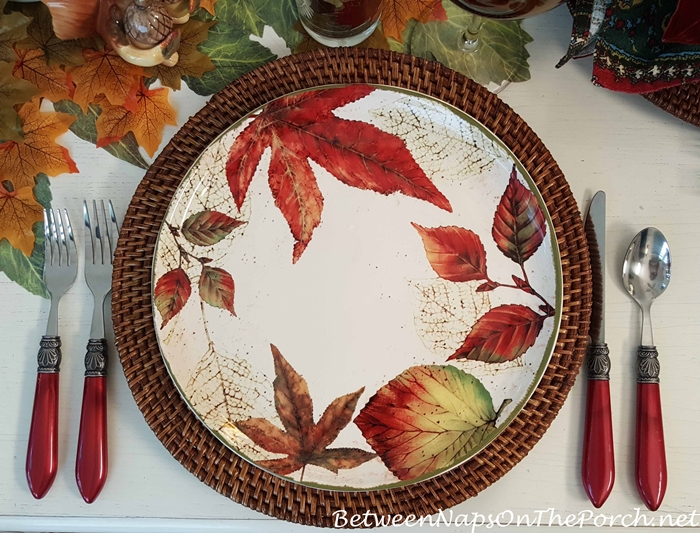 Fall Dishware with Autumn Leaves
