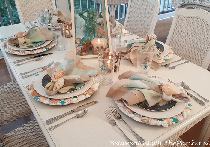 Nautical-Beach Themed Table Setting, Shell Chargers, Sailboat Flatware