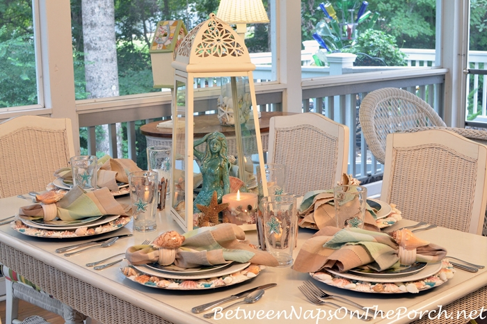Nautical Beach Themed Table on the Porch
