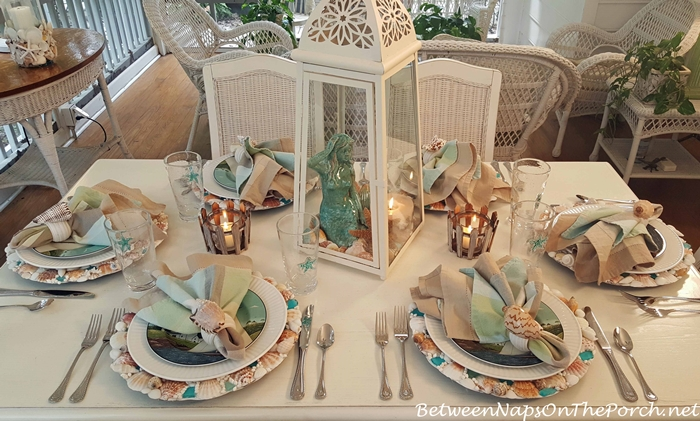 Nautical Themed Table with DIY Shell-Sea Glass Chargers