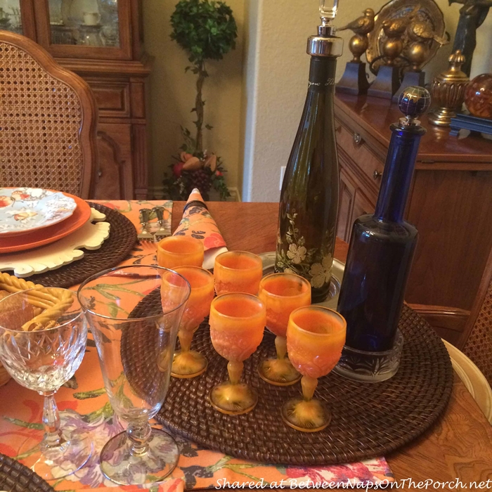 Orange Goblets for Wine