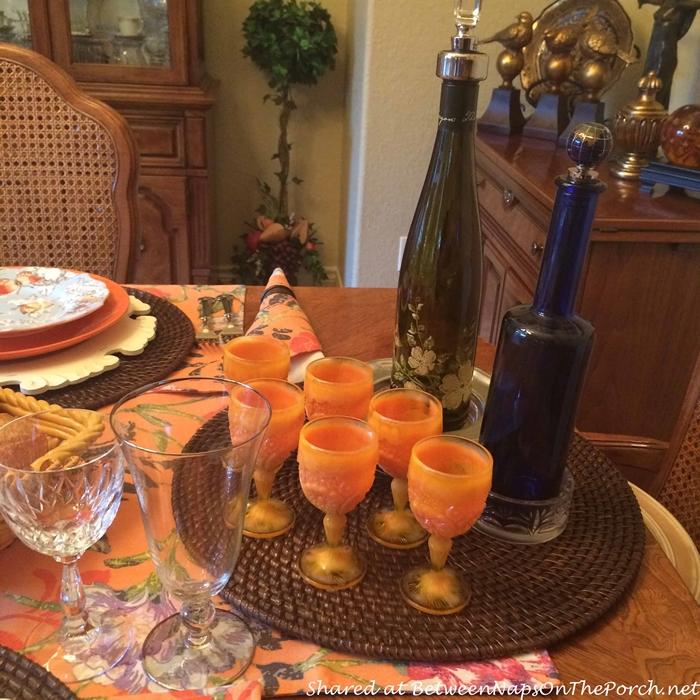 Orange Goblets for Wine