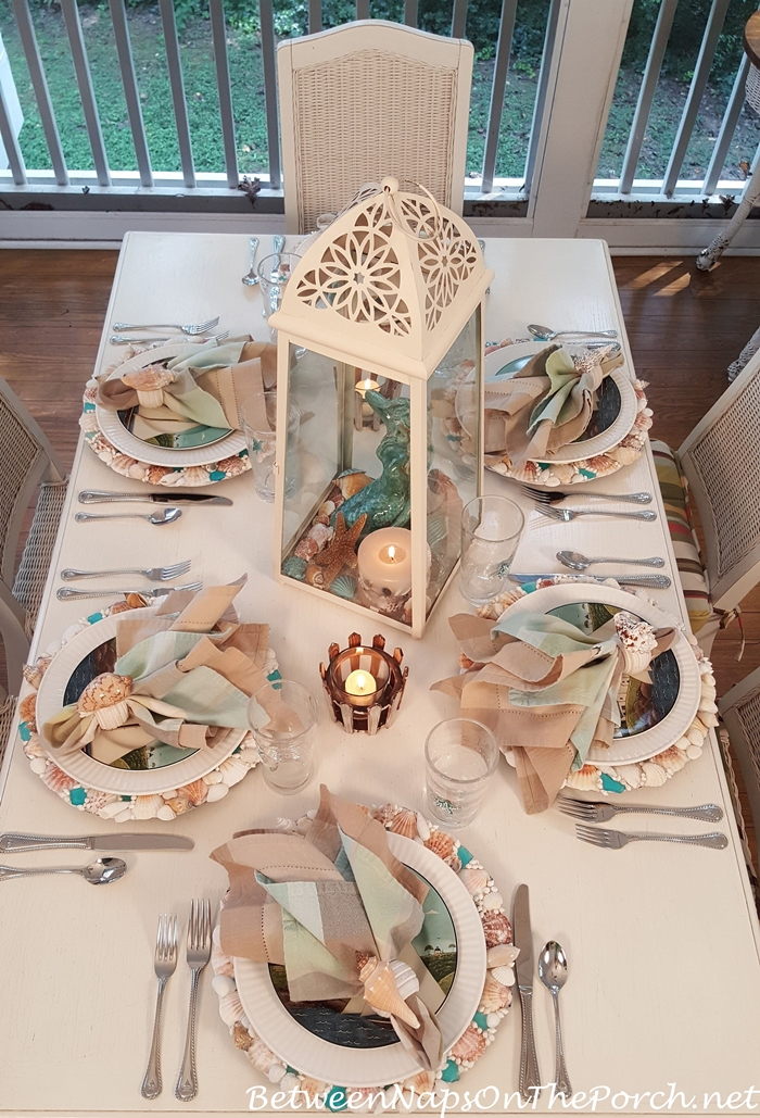 Summer Nautical Table Setting with Shell Chargers, Coastal Breeze Plates & Sailboat Flatware
