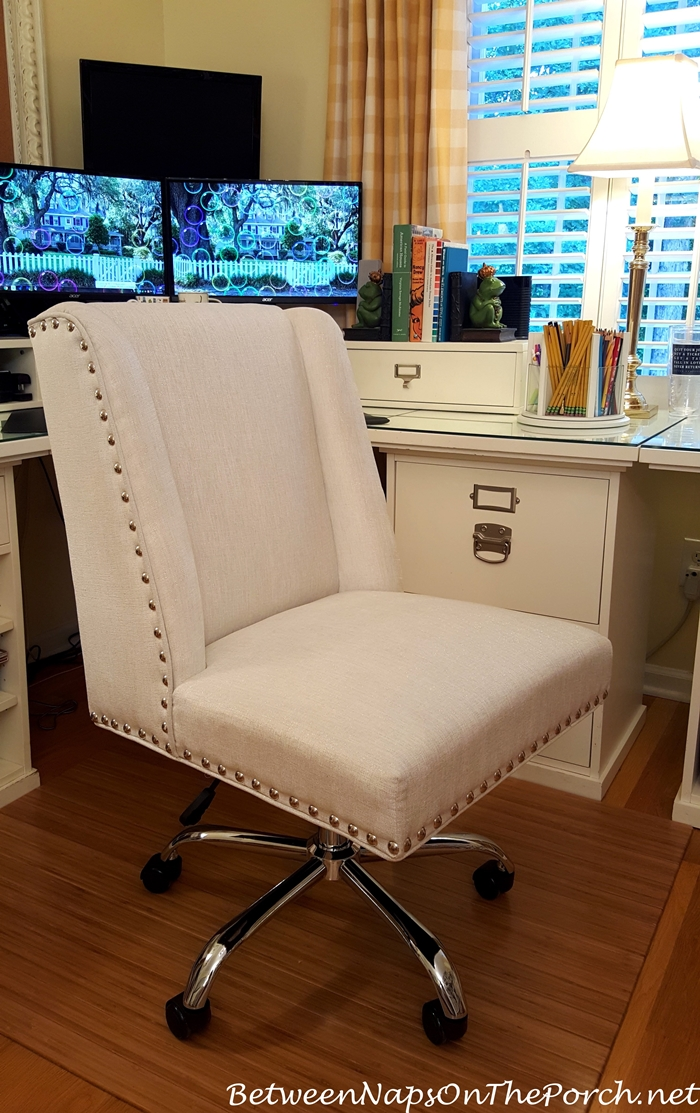 White Desk Chair, Nailhead Accent