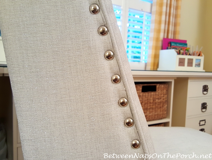 White Desk Chair with Nailhead Accent