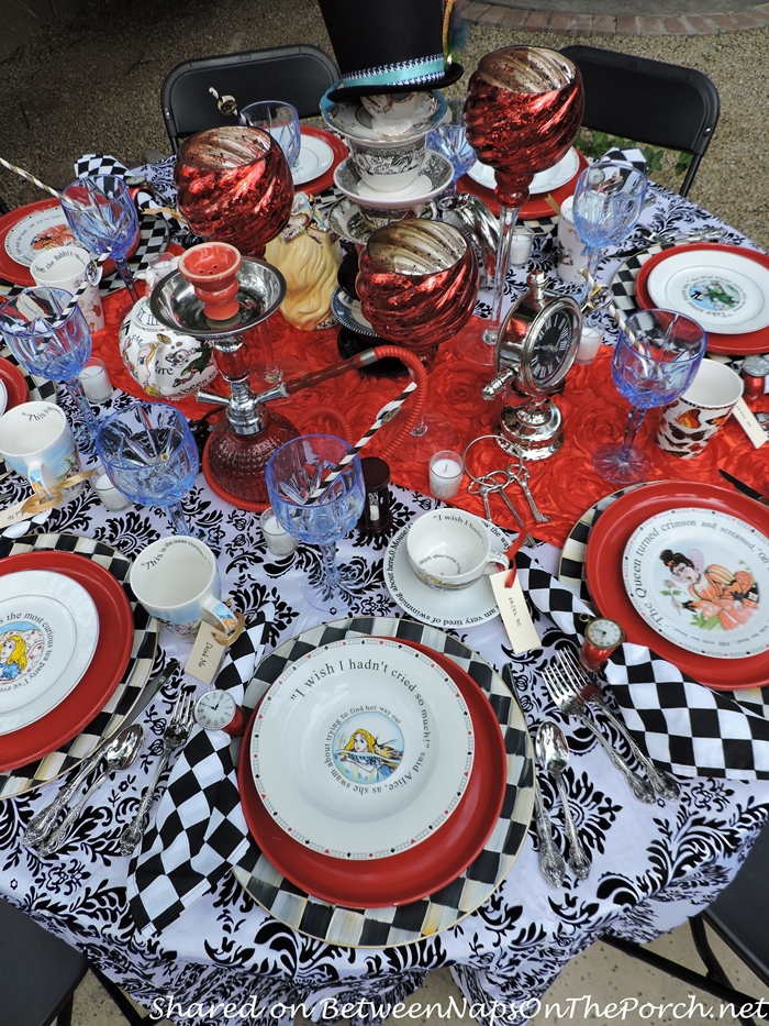Alice in Wonderland Table Setting with Checkered Black & White Napkins