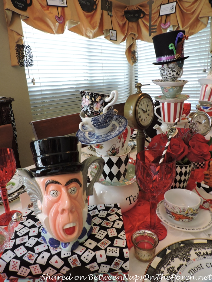 DIY Tipsy Teacup Towers & Mad Hatter Tea Pot for Alice in Wonderland Mad Hatter Party