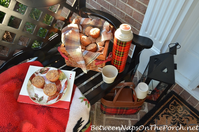 Hot Cocoa and Muffins on a Fall Porch