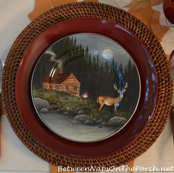log-cabin-deer-plate-northwoods-dinnerware