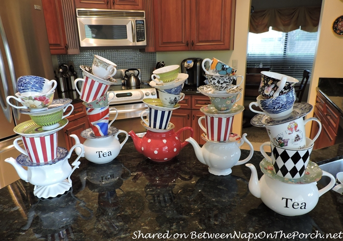 Make Tipsy Tea Cup Towers for Mad Hatter Party