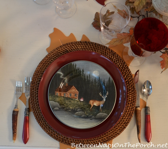 northwoods-plate-with-cabin-and-deer-david-carter-brown