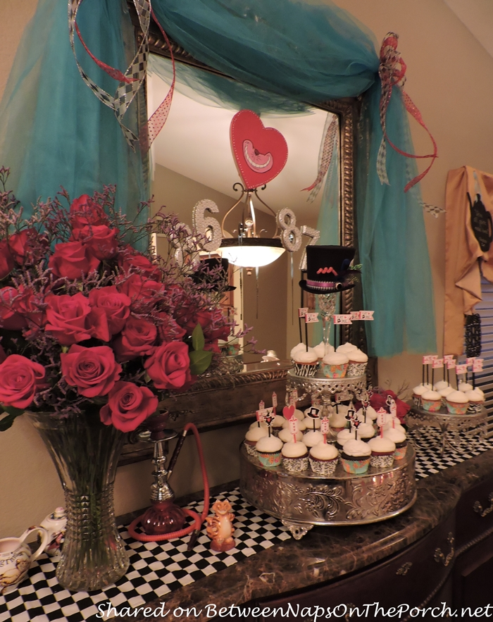 Red Roses and Cupcakes for Alice in Wonderland Dinner Party