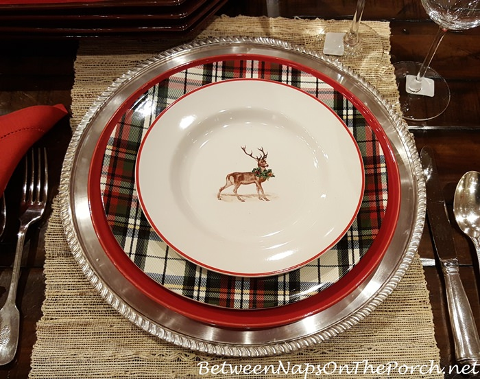 pottery-barn-denver-plaid-plates-with-silly-stag-plates