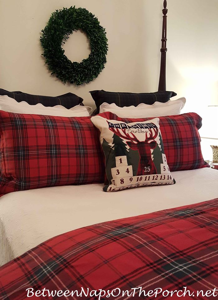 plaid reindeer countdown pillow for christmas