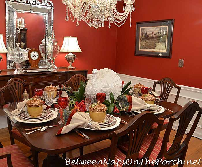 Thanksgiving table with spode woodland a turkey