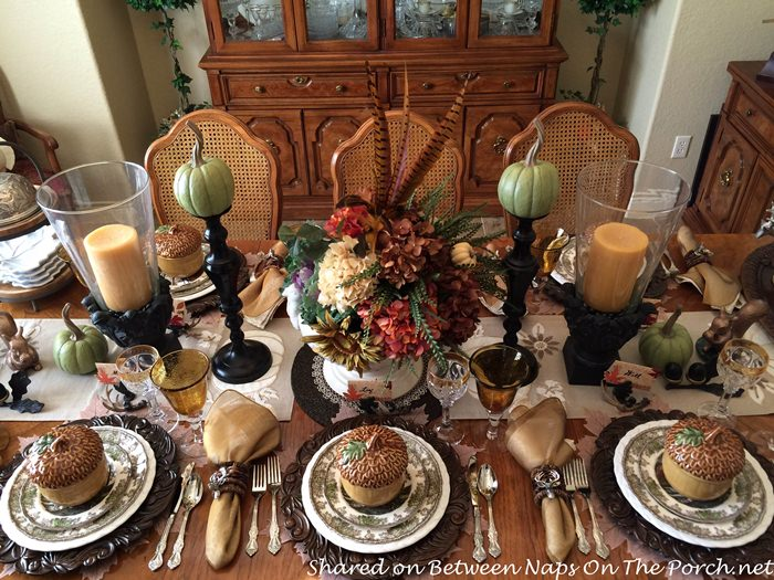 woodland-thanksgiving-fall-table-with-johnson-brothers-willow-by-the-brook-china-floral-pheasant-centerpiece