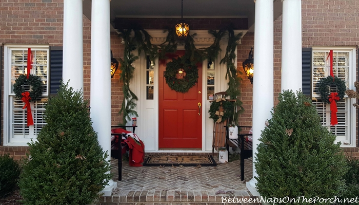 Porch Decorated for Christmas, Christmas Benches