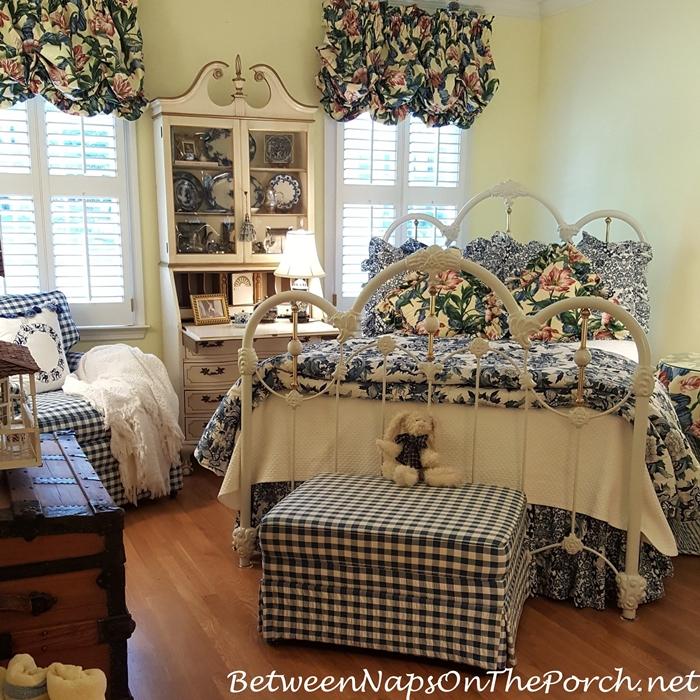 Blue & White Bedroom with Hardwood Flooring