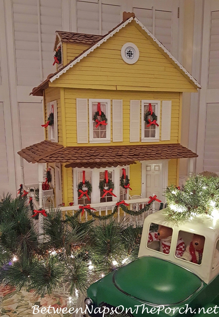 Christmas Doll House with Wreaths
