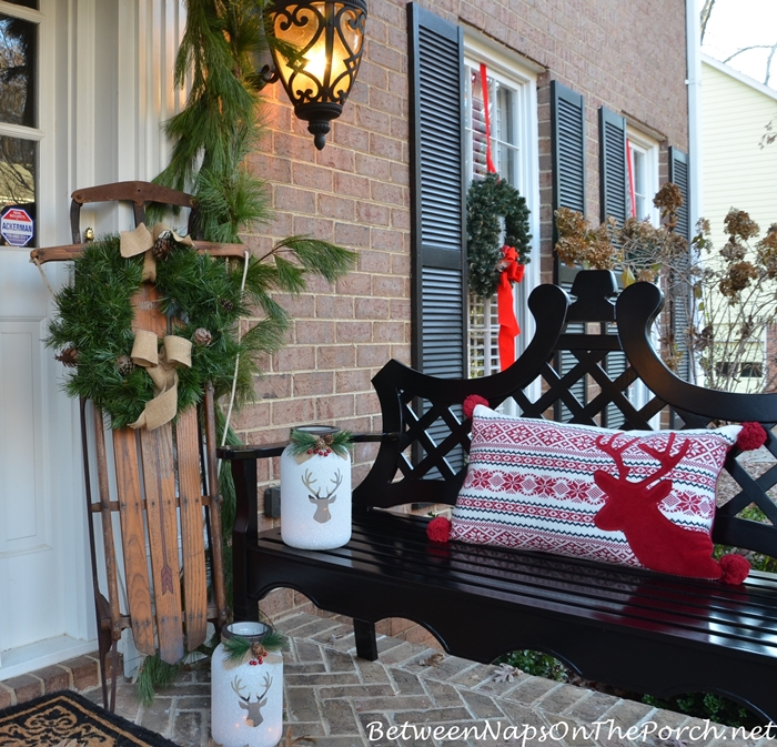 A Little Porch Decorating To Celebrate The Holidays Between Naps Amazing How To Decorate A Bench With Pillows
