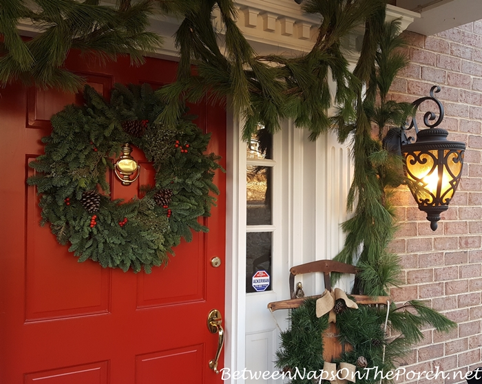 Decorate Porch for Christmas with Pine Garland