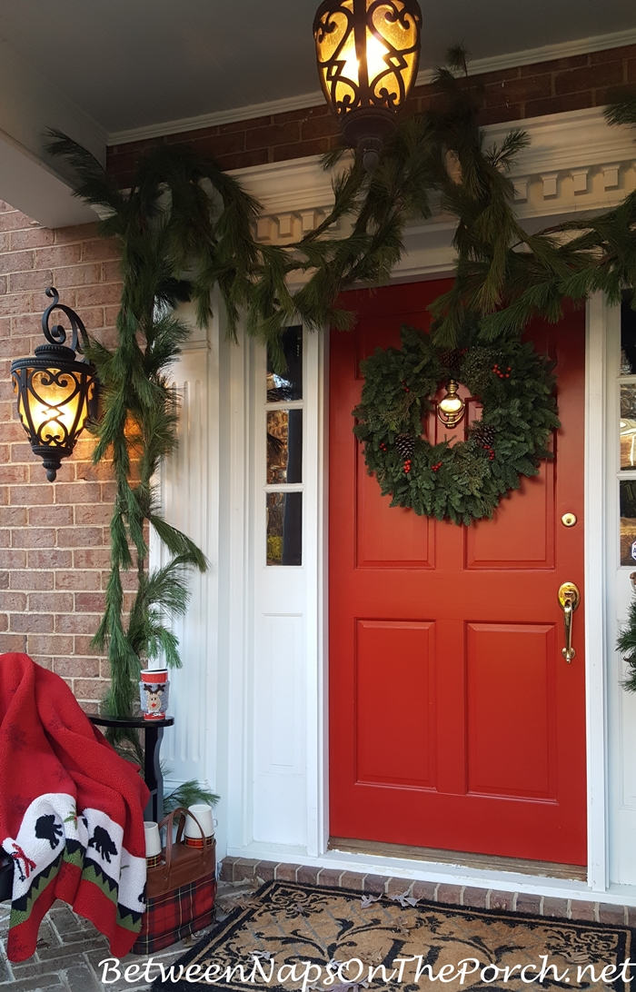 Red Christmas Door with Live Wreath and Garland