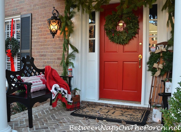 Traditional Decorations for Christmas Front Porch