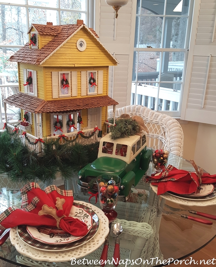 Victorian Dollhouse in Christmas Tablescape