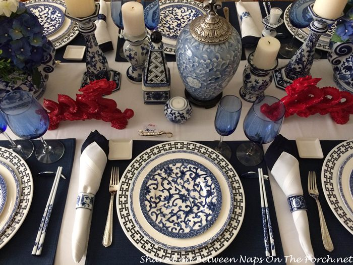 Blue And White Table Setting For A