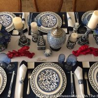 Blue and White Table Setting for a Special New Year's Eve Dinner
