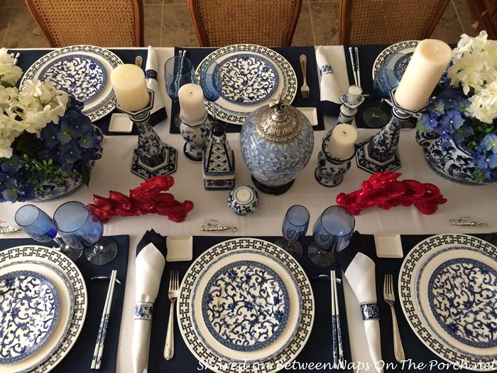 Blue and White Table Setting for New Year's Eve