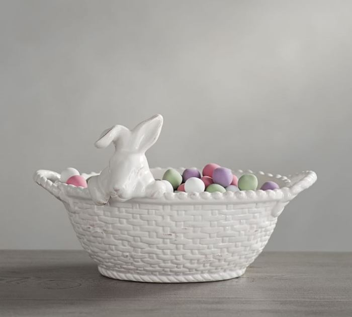Ceramic Bunny With Basket For The Table Kitchen Porch Or
