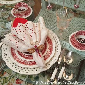 Valentine's Table, Eyelet Napkins, Pierced Chargers, Copeland Spode Tower