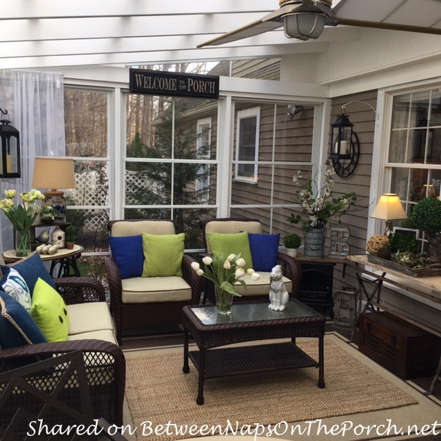 Linda Has Been Busy Decorating Her Beautiful 3 Season Porch For Spring She Changed Out Winter Decor Summer Blues And Greens